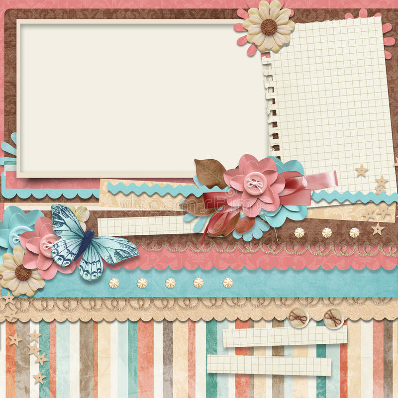 Retro familiealbum.365- Project. De malplaatjes van Scrapbooking. vector illustratie
