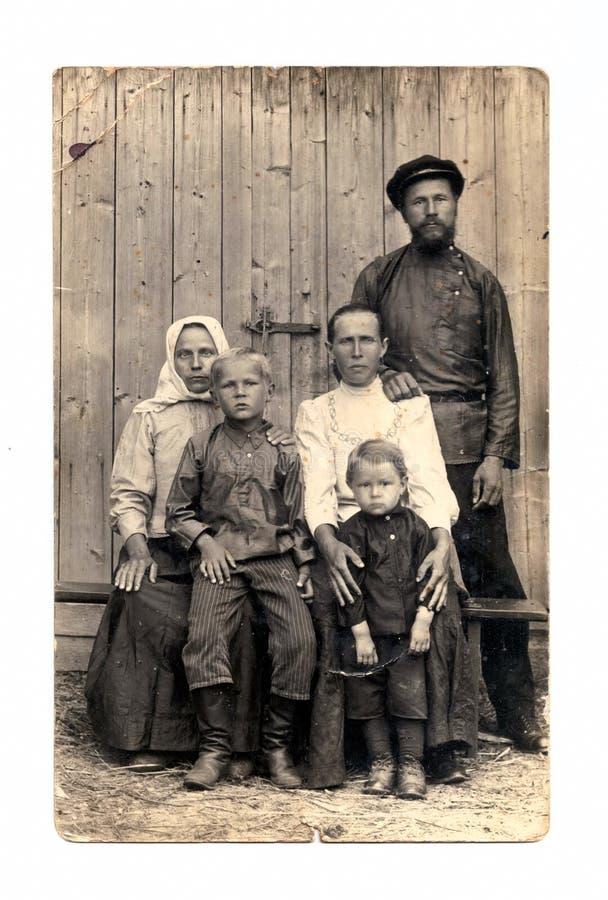 Retro familieportret stock fotografie