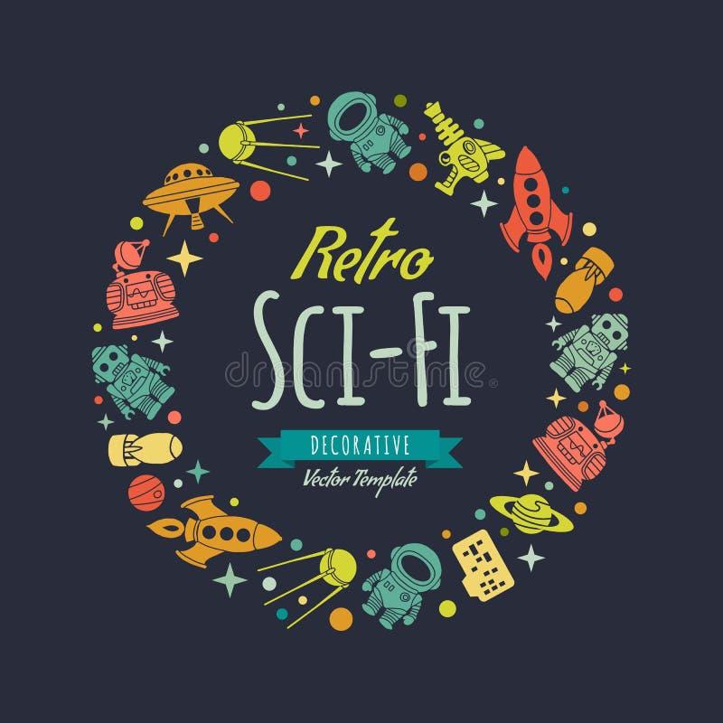 Retro fantastyka naukowa wektorowy dekoruje projekt ilustracja wektor