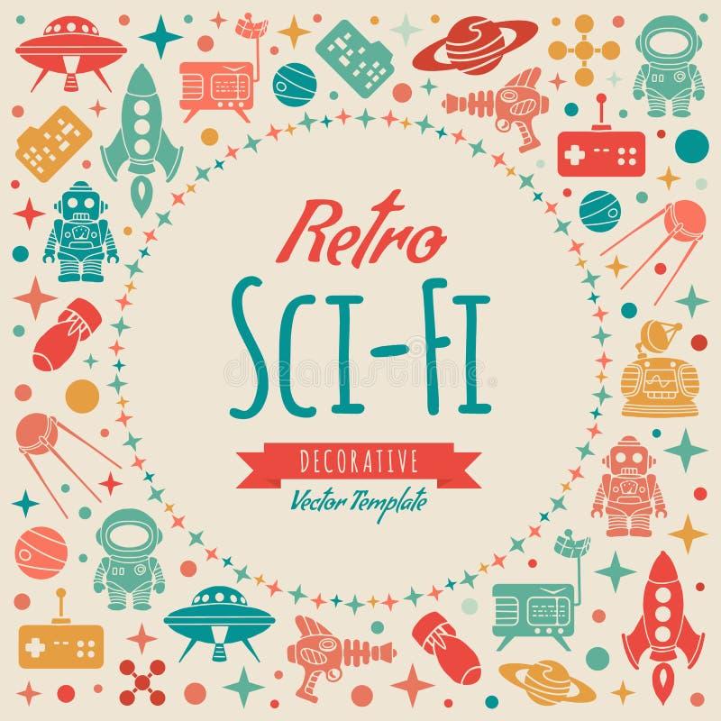 Retro fantastyka naukowa wektorowy dekoruje projekt ilustracji