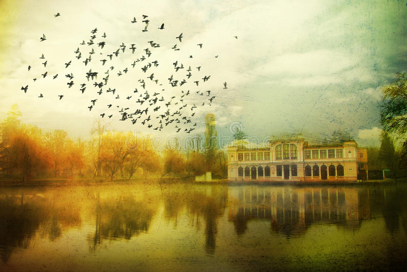 Retro fantasy scene. Grunge fantasy landscape with birds flying towards an old mansion. Surrealist illustration