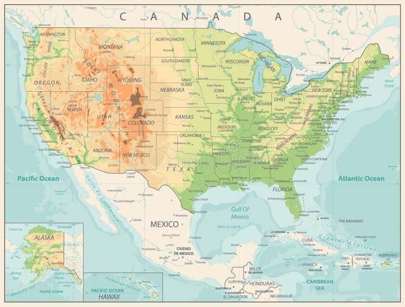 Retro- Farbkörperliche Karte von USA lizenzfreie abbildung