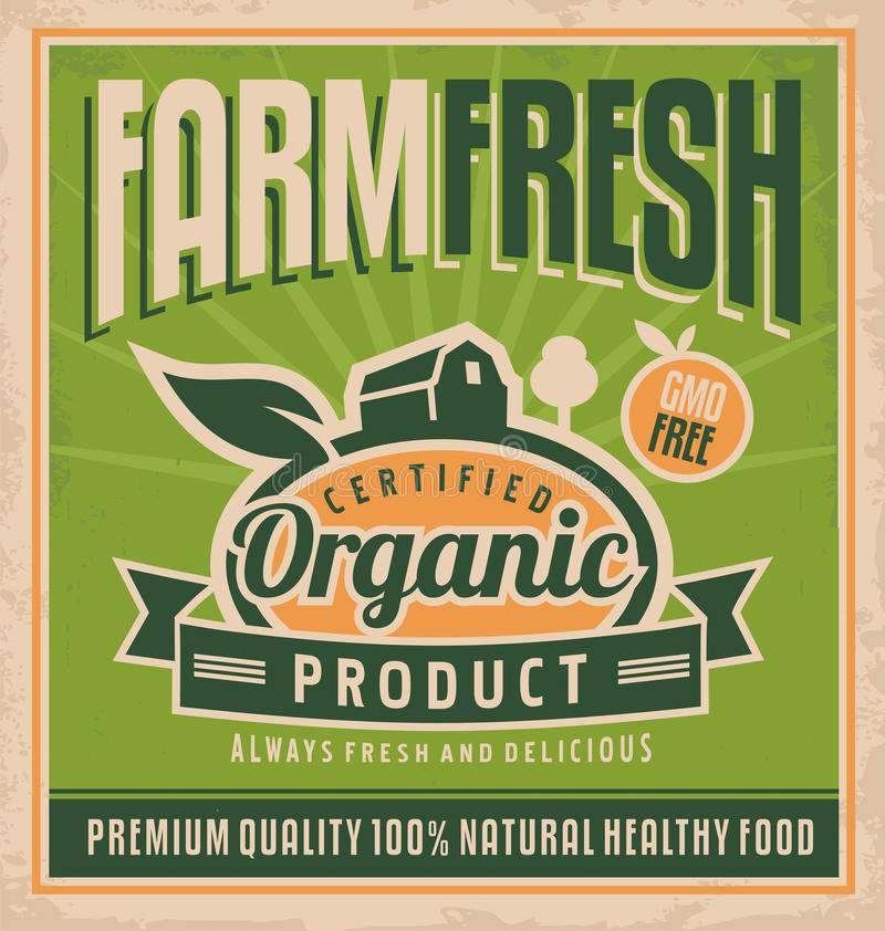 Retro farm fresh food concept. Vector design for gmo free organic products on old paper texture. Vintage label for premium quality 100 % natural healthy food vector illustration