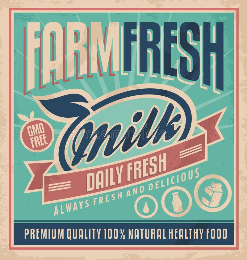Retro farm fresh milk concept Retro farm fresh milk concept stock illustration