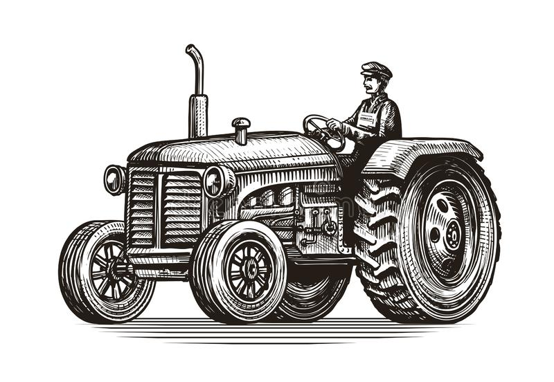 Retro farm tractor, sketch. Vintage vector illustration royalty free illustration