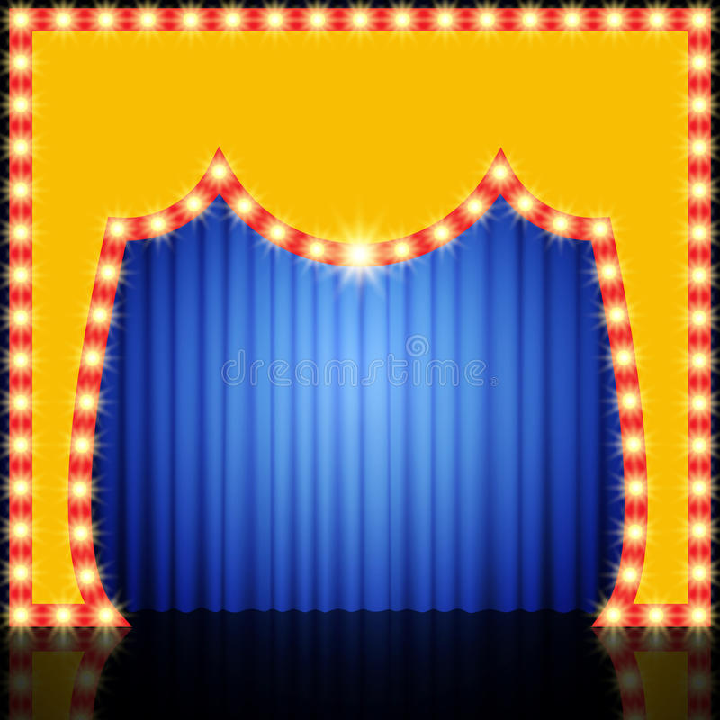 Retro fase vuota con la tenda blu royalty illustrazione gratis