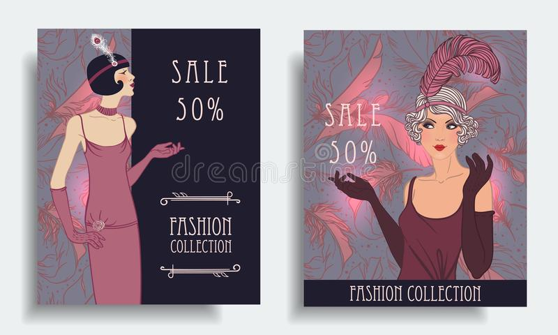 Retro fashion. Costume party or mafia game discount banner templ royalty free illustration