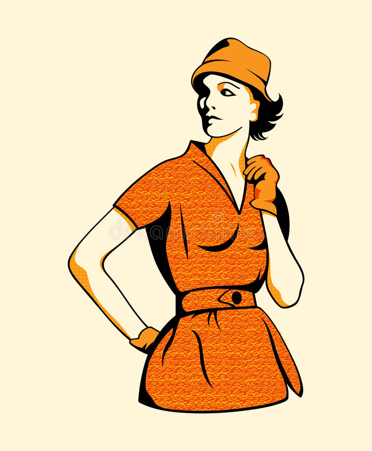 Retro fashion girl stock illustration
