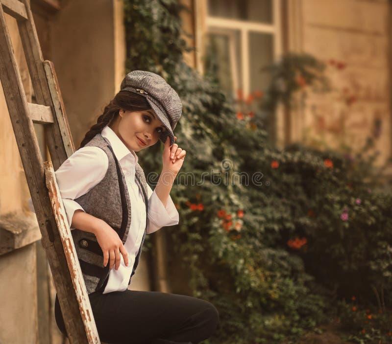 Retro fashion girl stock photo