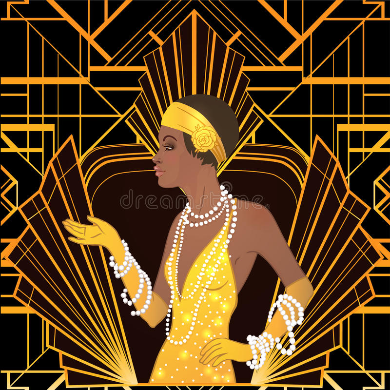 Retro fashion: glamour girl of twenties African American woman vector illustration