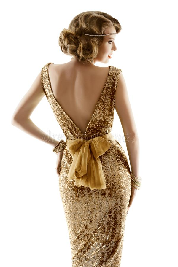 Retro Fashion Model Gold Dress, Woman Old Fashioned Beauty, Back View, White royalty free stock image