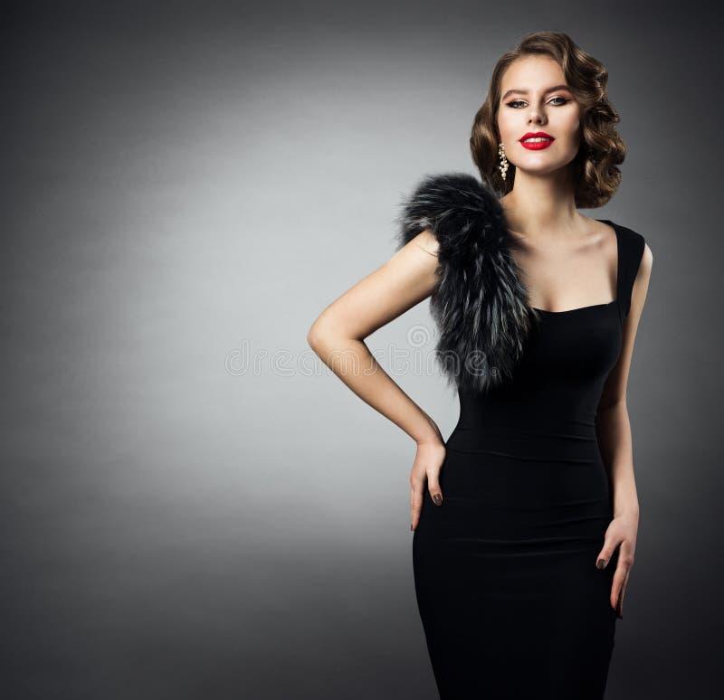 Retro Fashion Model Portrait, Woman Old Fashioned Beauty Portrait, Hairstyle Makeup, Vintage Black Fur Dress royalty free stock photos