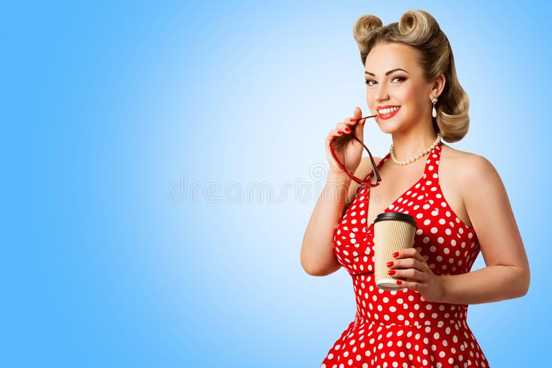Retro Fashion Model Red Polka Dots Dress, Woman Pinup Beauty Style, Happy Girl Holding Paper Cup stock photos