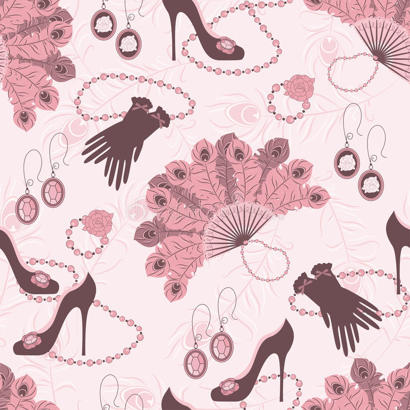 Download Retro Fashion Seamless  Pattern  With Women Access Stock Vector - Image: 27642142