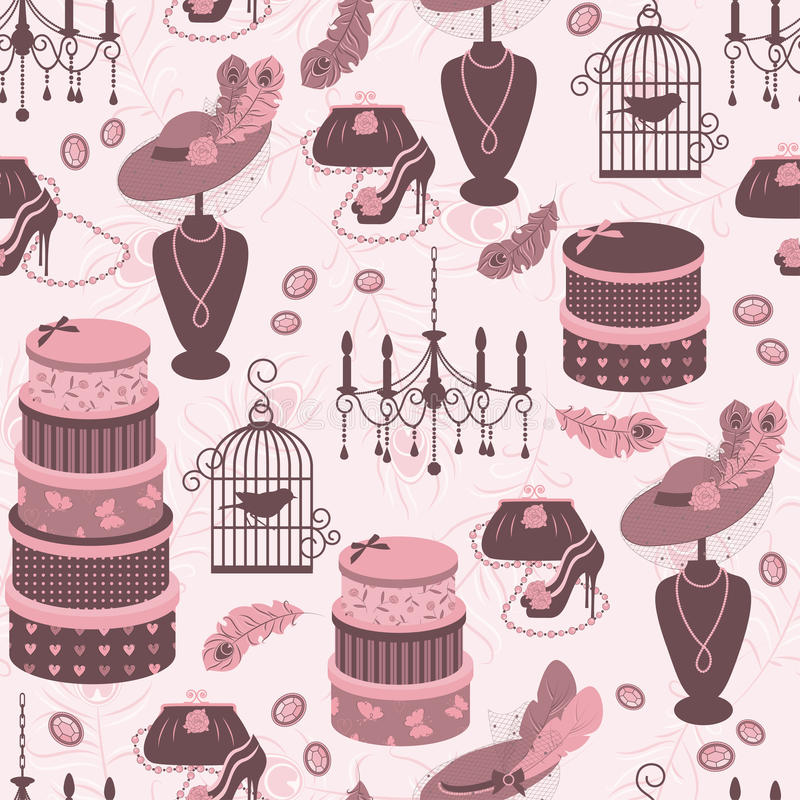 Download Retro Fashion Seamless  Pattern  With Women Access Stock Vector - Illustration: 27651832