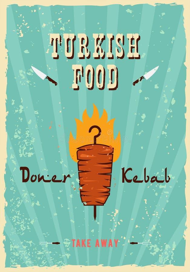 Retro fasta food Kebabu kanapki Plakatowa ilustracja projekta grunge i rocznik textured plakat, z orientalnym kebab kanapki sp ilustracji