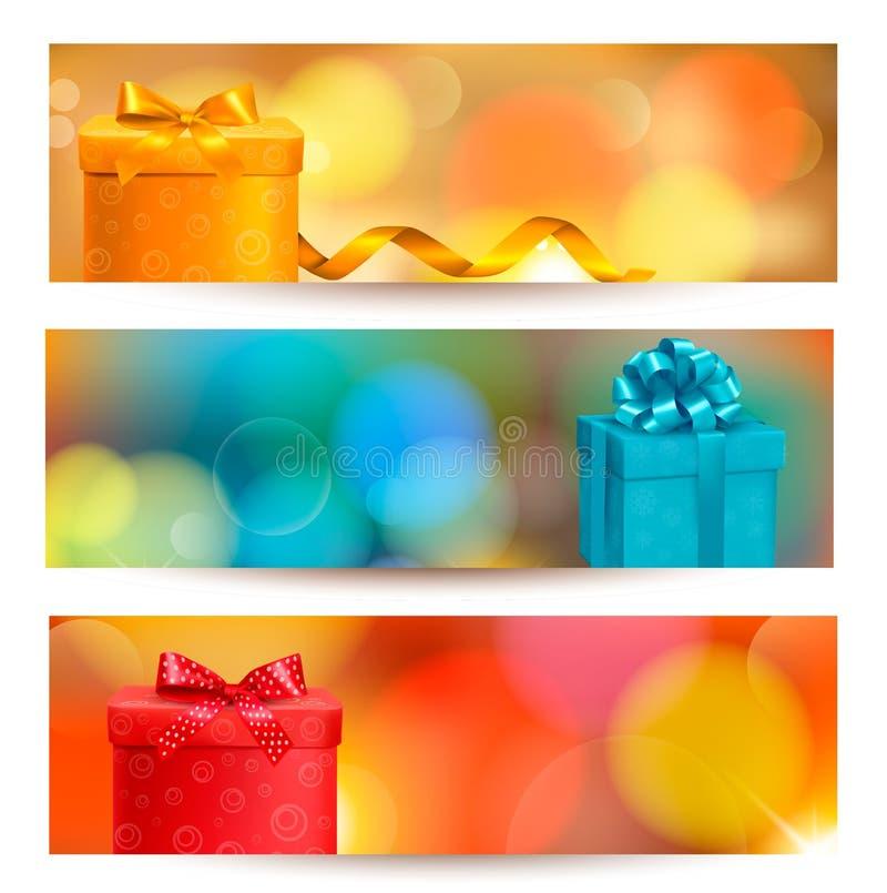 Retro- Feiertagshintergrund mit blauem Geschenkbandesprit vektor abbildung