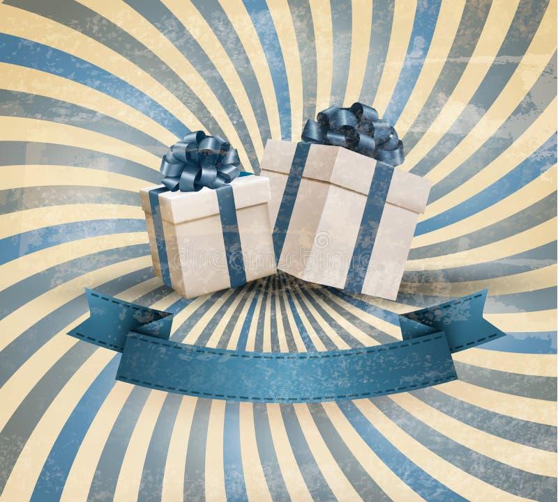 Retro- Feiertagshintergrund mit blauem Geschenkbandesprit lizenzfreie abbildung