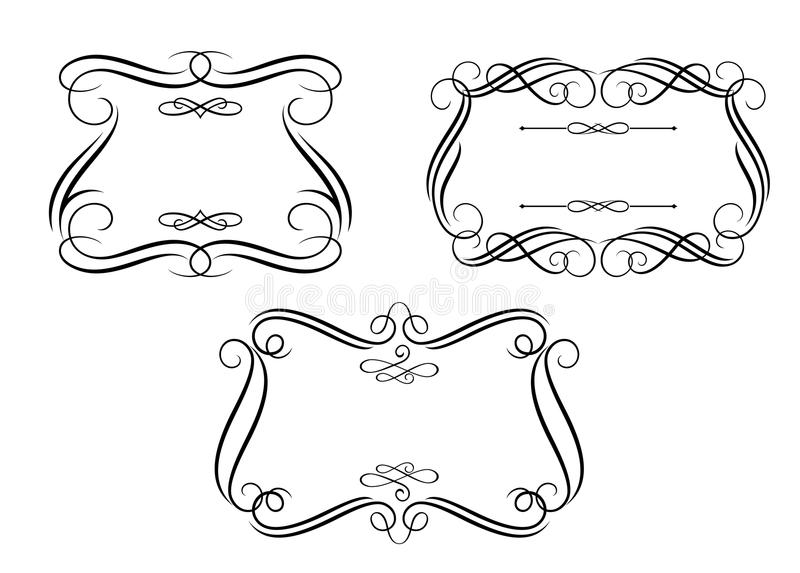 Retro- Felder in der kalligraphischen Art vektor abbildung