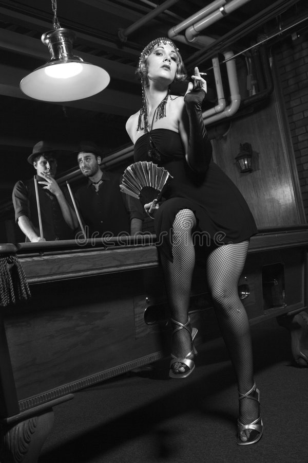 Download Retro Female By Pool Table. Stock Image - Image: 2044621