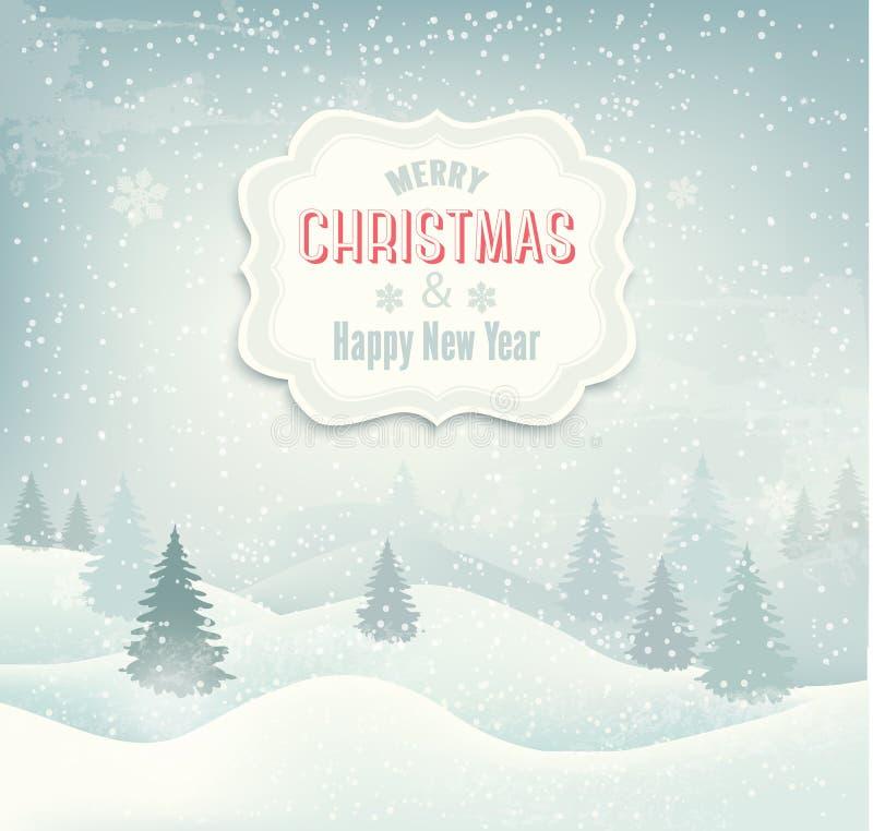 Retro feriejulbakgrund med vinterLAN stock illustrationer
