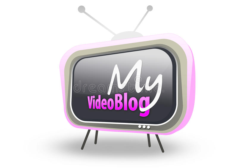 Retro- Fernsehapparat mein videoBlogzeichen vektor abbildung