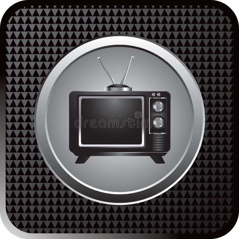 Retro- Fernsehen auf schwarzer checkered Web-Taste vektor abbildung