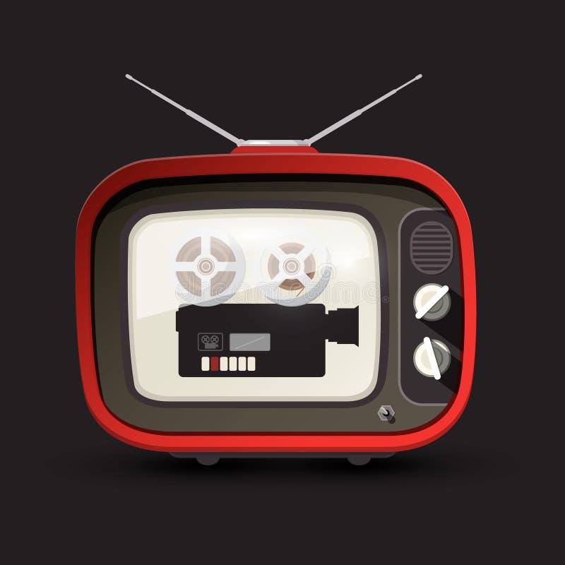 Retro- Fernsehen mit Film-Kamera vektor abbildung