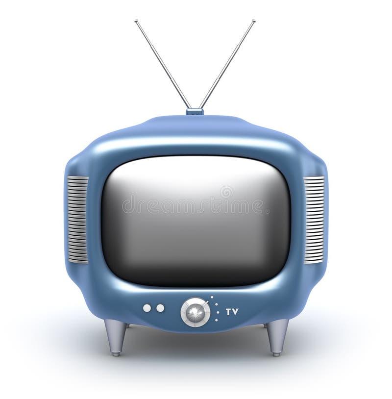 Retro- Fernseher. Getrennt auf weißem Hintergrund lizenzfreie abbildung