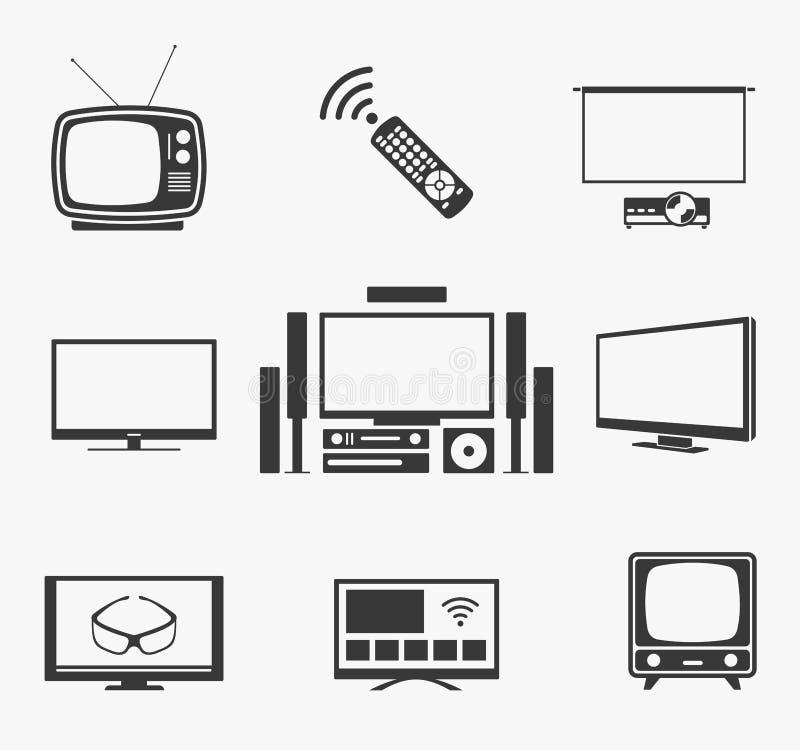 Retro- Fernsehflachbildschirm, Heimkino und intelligente Ikonen vektor abbildung
