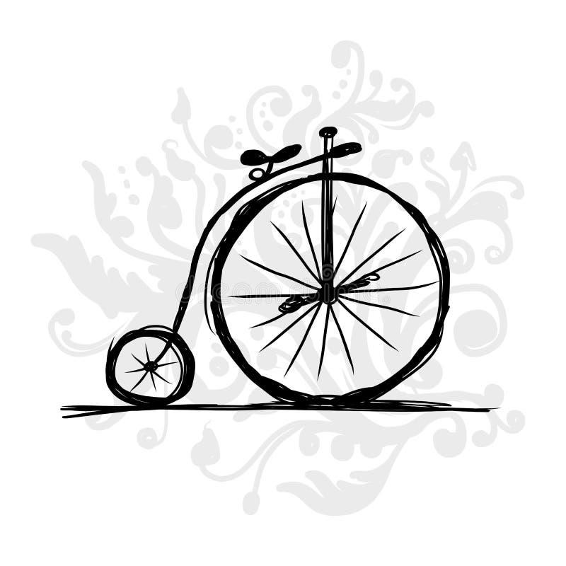 Retro fiets, schets voor uw ontwerp vector illustratie