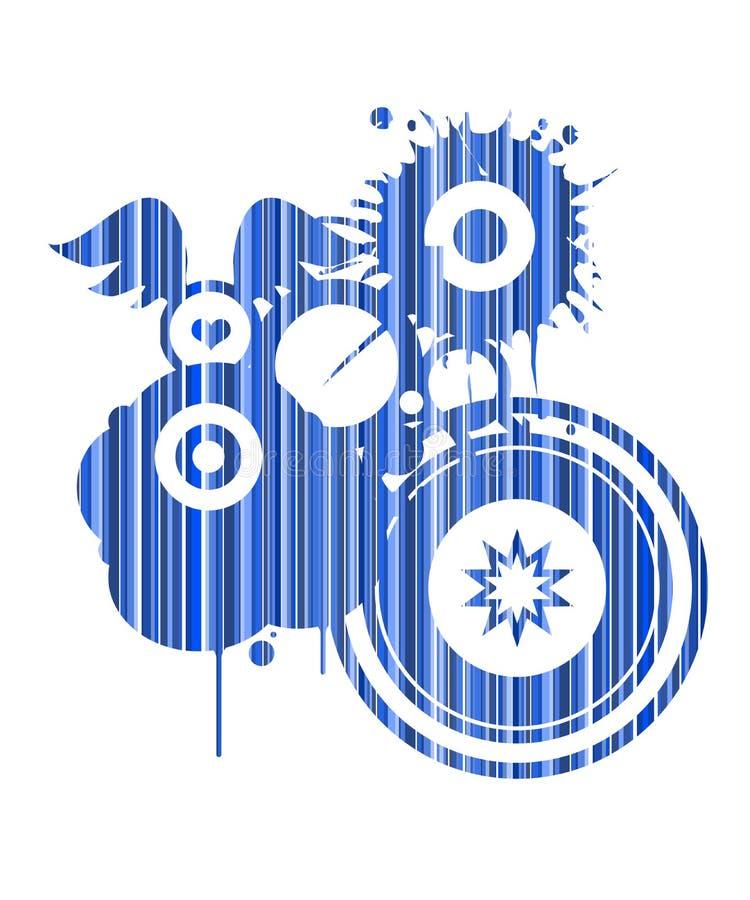 Retro figura astratta blu illustrazione vettoriale