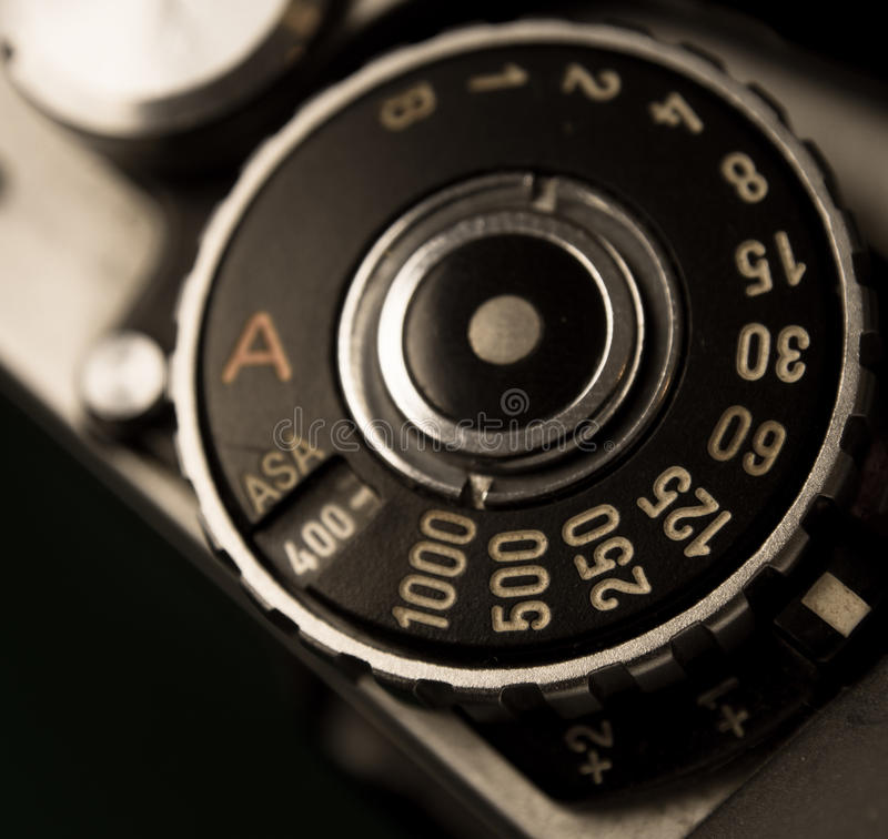 Retro film dial. Retro Film camera dial settings Shutter speed stock photo