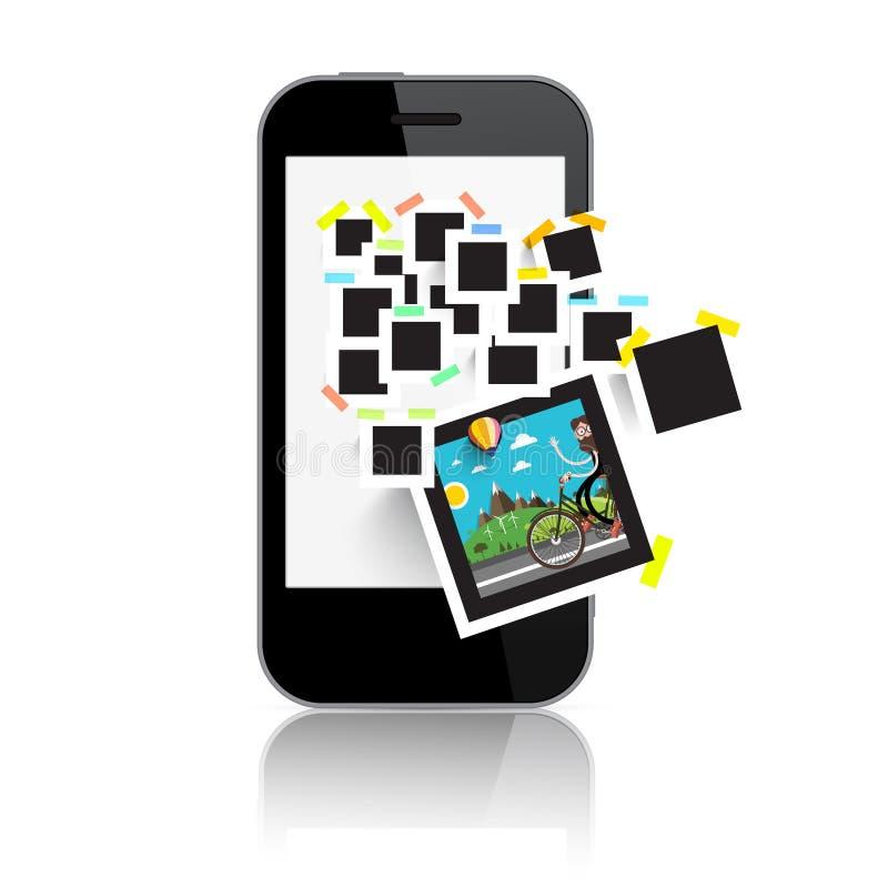 Retro- Film-Foto gestaltet auf intelligenter Telefon-Anzeige vektor abbildung