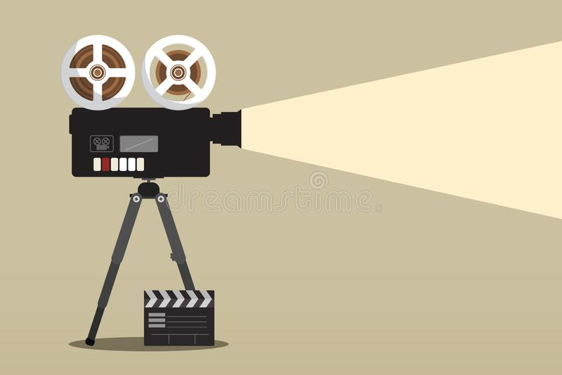 Retro- Film-Kamera auf Stativ mit Film-Klatschen vektor abbildung