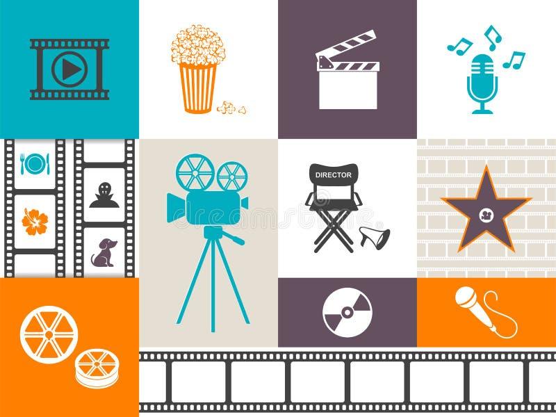 Retro film- och musiksymboler royaltyfri illustrationer