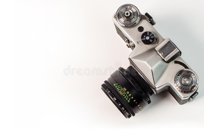 Retro film photo camera isolated on white background. Old analog stock images