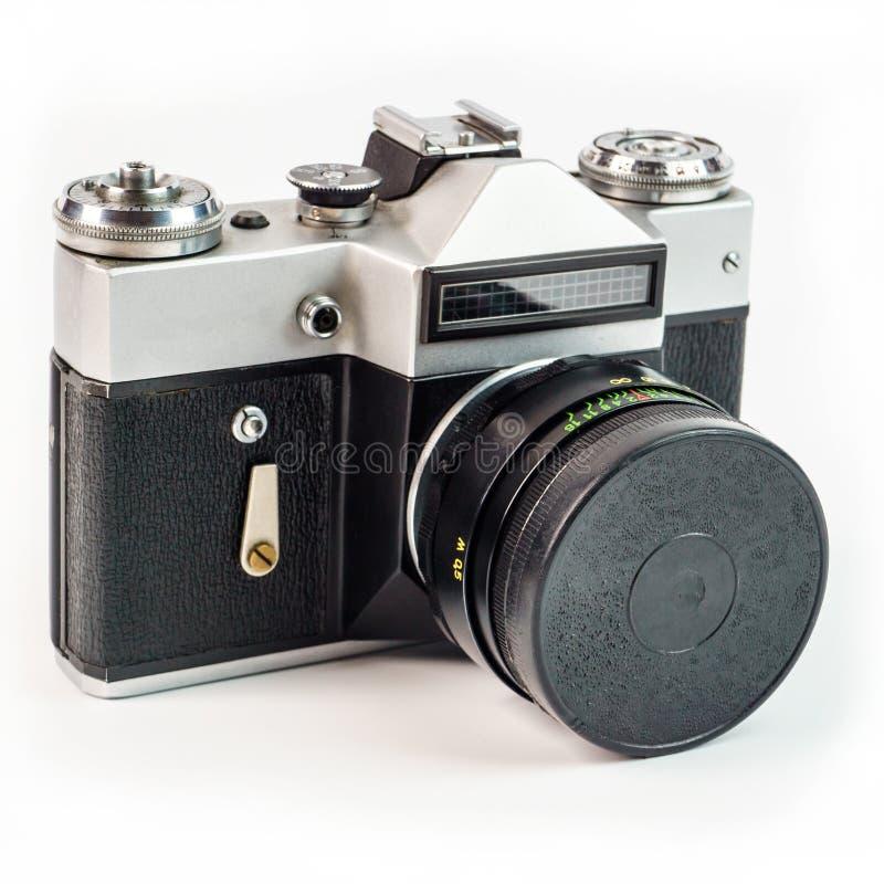 Retro film photo camera isolated on white background. Old analog. Camera isolated on a white background. Vintage design stock photos