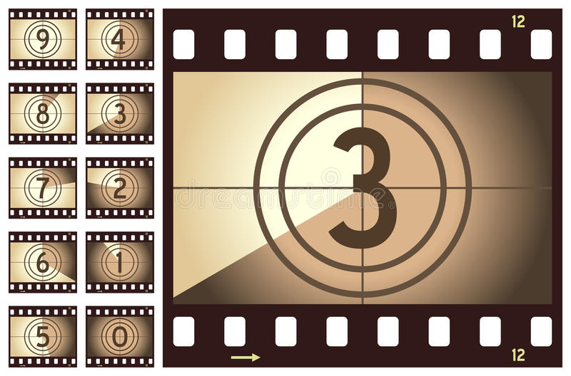 Retro Film Strip Countdown. Old retro film strip countdown, isolated on white background. Eps file available stock illustration