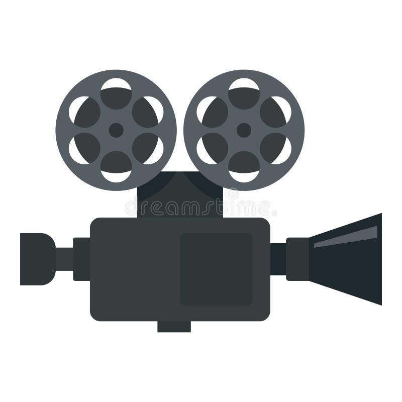 Retro film video camera icon, flat style. Retro film video camera icon. Flat illustration of retro film video camera vector icon for web design royalty free illustration