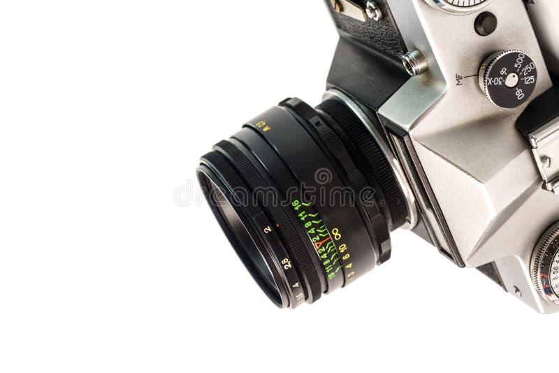 Retro- Filmfotokamera lokalisiert auf weißem Hintergrund Alte Entsprechung stockfotos