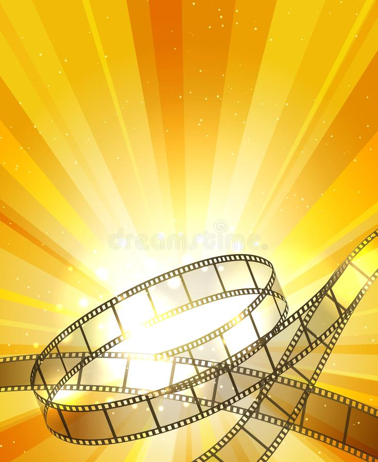 Retro filmstrip background. Vintage movie yellow vector background with film strip, video projection backdrop vector illustration