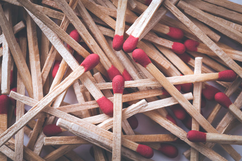 Retro filtered red match sticks. Macro with shallow depth of fie.  royalty free stock image