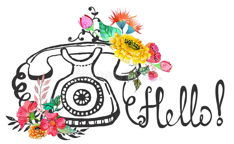 Retro fiori grafici dell'acquerello e del telefono royalty illustrazione gratis