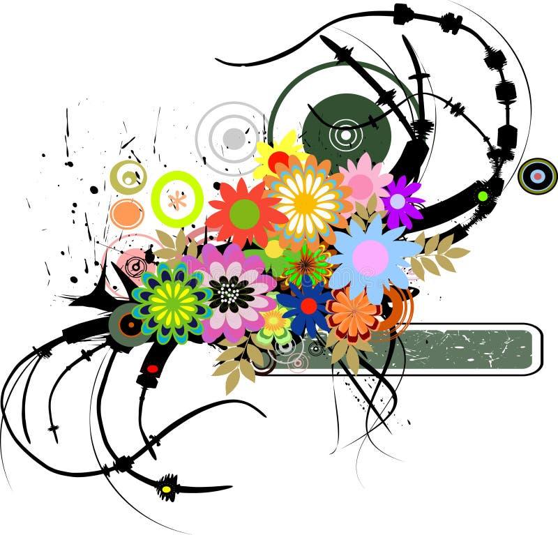 Retro fiori grungy illustrazione vettoriale