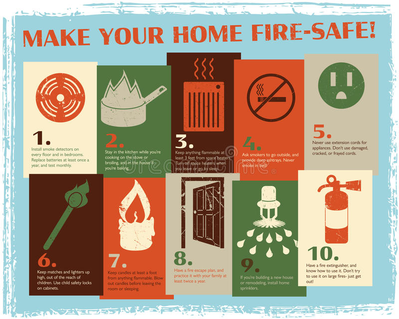 Retro Fire Safety Guide vector illustration