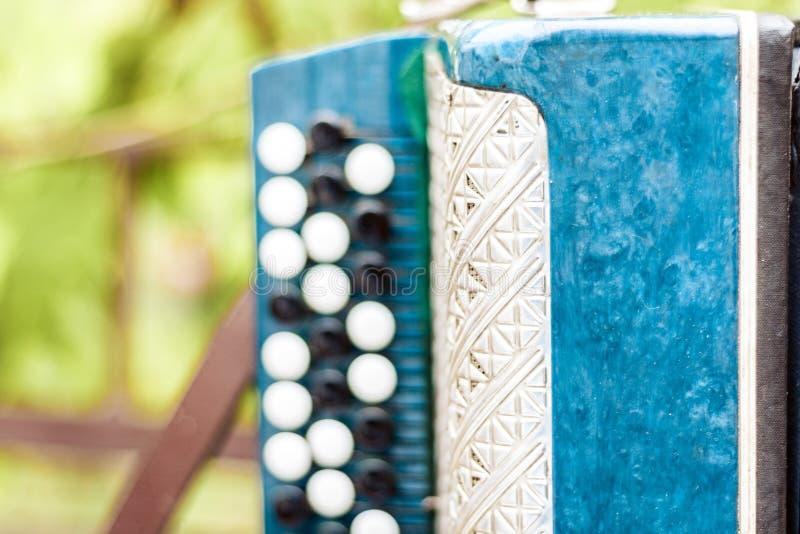 Retro fisarmonica bayan classica, strumento musicale fotografia stock