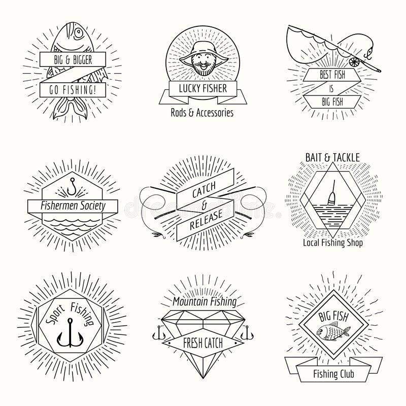 Retro fishing logo or labels set vector illustration