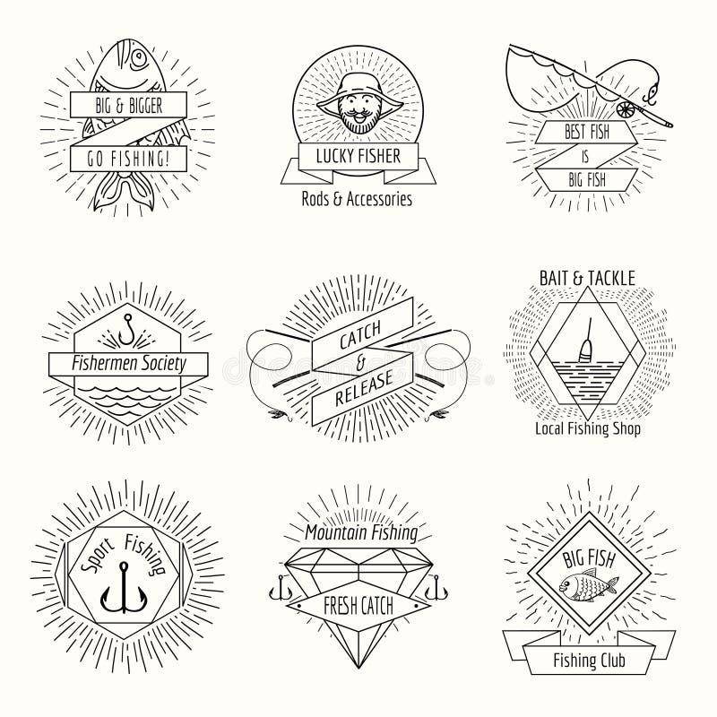 Retro fishing logo or labels set. Fisher and fisherman, badge and stamp, vector illustration vector illustration