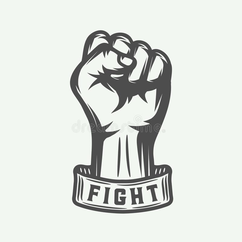 Retro fist in vintage style with typography. Graphic art. stock illustration